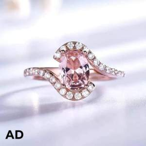 Unique Ring (925 Sterling Silver) with Morganite stone