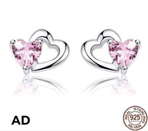 Cute and Adorable Heart Stud Earrings (925 Sterling Silver) - Earrings on Aster Vender