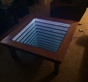 Infinity lights wooden table  - Interior Decor on Aster Vender