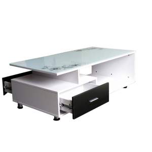 Living Room Table Modern Glass Coffee Table With Storage - Tables on Aster Vender