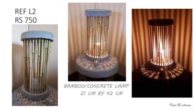 Bamboo/concrete lamp - Handmade on Aster Vender