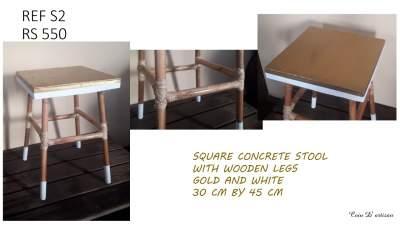 Concrete rectangular stool with wooden legs - Art & design on Aster Vender