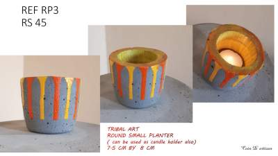 Small round concrete planter( tribal) - Other Decorations on Aster Vender