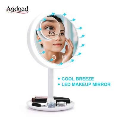 rechargeable make up mirror with fan n led light - All electronics products on Aster Vender