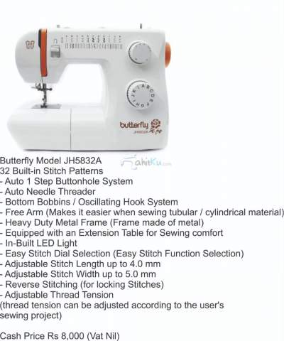 Butterfly Model JH5832A - Sewing Machines on Aster Vender
