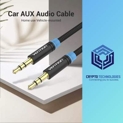 Cotton Braided 3.5mm Male to Male Audio Cable - Black Metal Type - All Informatics Products on Aster Vender
