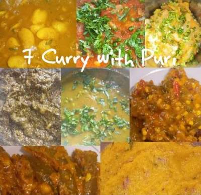 7 curry with puri - Main Course on Aster Vender