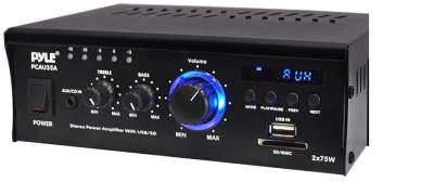 Pyle PCAU35A 2 x 75W Stereo Power Mini Amplifier USB/SD AUX Player  - All electronics products on Aster Vender