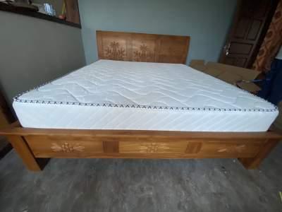 New teak wood king size bed with mattress - Bedroom Furnitures on Aster Vender