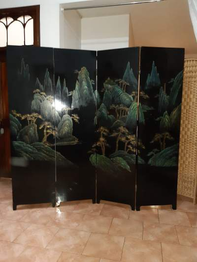 Chinese lacquer screen different design on both sides  - Living room sets on Aster Vender