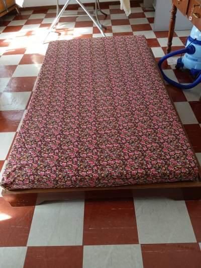 SOLID WOODEN BED + MATTRESS - Bedroom Furnitures on Aster Vender