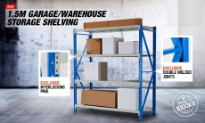 1.5x2M 1000KG Metal Warehouse Racking Storage Garage Shelving Steel Sh - Others on Aster Vender