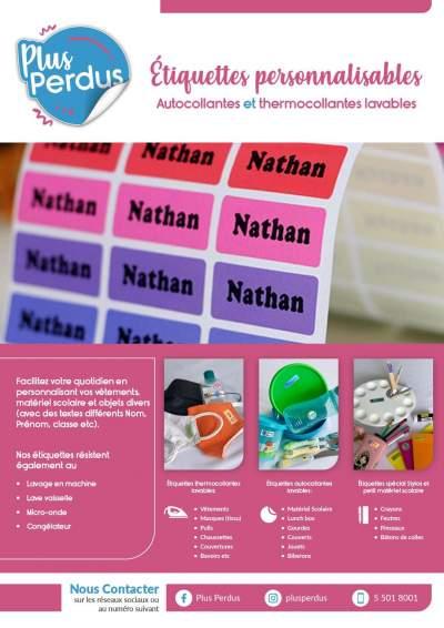 Étiquettes personnalisables lavables  - Kids Stuff on Aster Vender