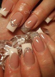 Nail extension french colour design diamond