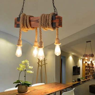 Ceiling Lights - Rectangle solid wood * 4 rope - Interior Decor on Aster Vender