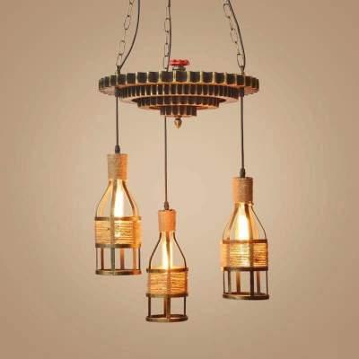 Ceiling Lights - Wooden gear * 3 bottle - Interior Decor on Aster Vender