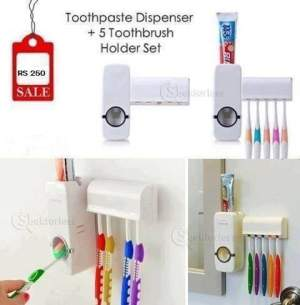 Toothpaste Dispenser + 5 Toothbrush Holder Set Wall Mount Stand - Toothbrush on Aster Vender