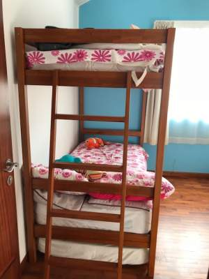 For Sale - 3 in 1 bunk Bed in teak wood + mattress - Bed frames, headboards, footboards on Aster Vender