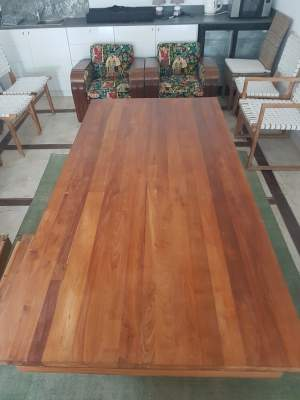 2.4 metre teak table with 8 leather chairs - Tables on Aster Vender