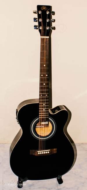 SX SD2 Acoustic/Electric Guitar | Black - Accoustic guitar on Aster Vender