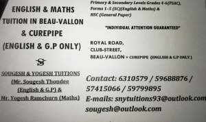 English/GP/Maths TUITION in Beau vallon & Curepipe - Private tuition on Aster Vender