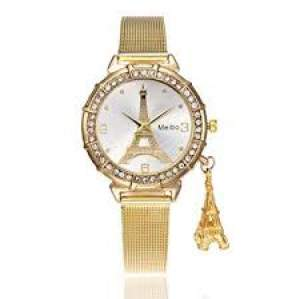 New Fashion Women Crystal Eiffel Tower Stainless Steel Analog Quartz W - Watches on Aster Vender