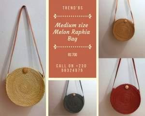 Medium Size Melon Raphia Bag - Bags on Aster Vender