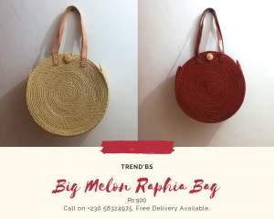 Large Melon Raphia Bag - Bags on Aster Vender