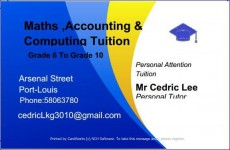 Maths, accounting and computing tuition - Private tuition on Aster Vender