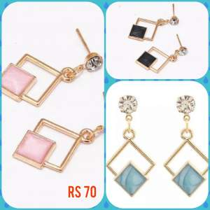 Blue, black and pink earrings - Earrings on Aster Vender
