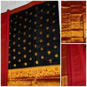 Silk Saree - Red and Black - Saree on Aster Vender