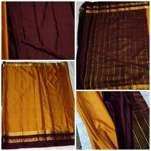 Mysore silk saree with contrasting blouse(Maroon/Mustard) - Saree on Aster Vender