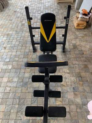 Bench + bar + weights - Fitness & gym equipment on Aster Vender