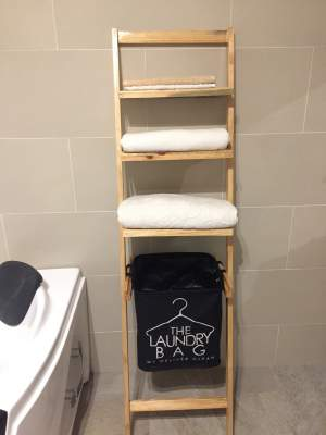Wooden Towel Stand And Basket  - Bathroom on Aster Vender