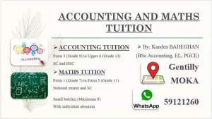 ACCOUNTING and MATHS TUITION - Private tuition on Aster Vender