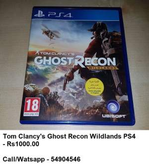 TOM CLANCY'S GHOST RECON WILDLANDS PS4 - PS4, PC, Xbox, PSP Games on Aster Vender