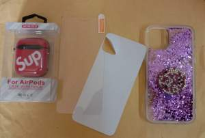 Mobile cover + Tempered glass with back protection  + Airpod Case  - Phone covers & cases on Aster Vender