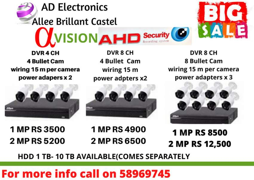 DVR 4CH/8CH Bullet Cam from Rs3500