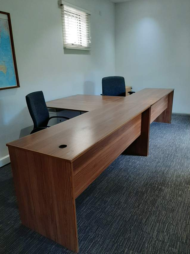 Office desk and picture frames