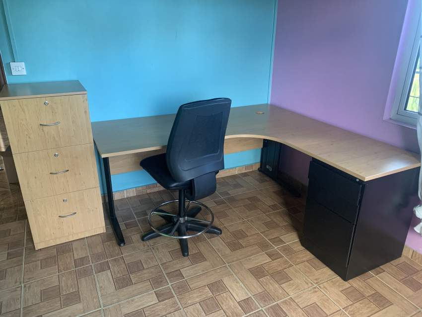 Office table, chair and cabinets