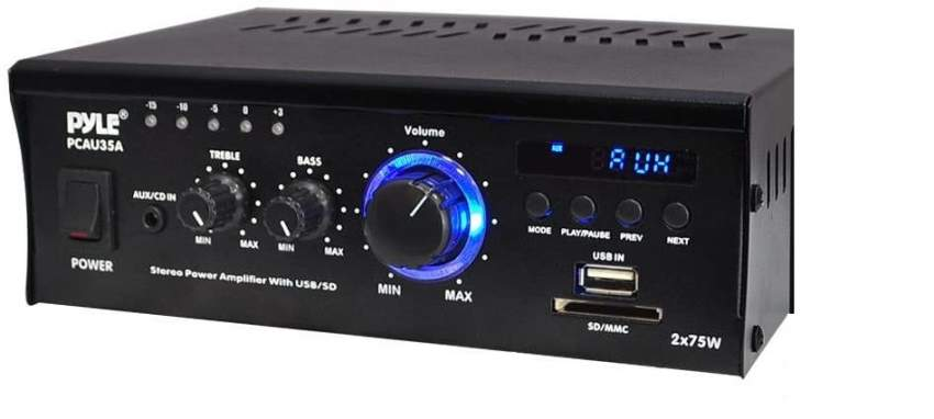 Pyle PCAU35A 2 x 75W Stereo Power Mini Amplifier USB/SD AUX Player