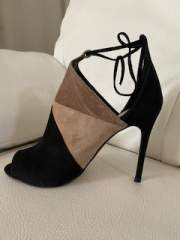 Three coloured suede open toe ankle boots