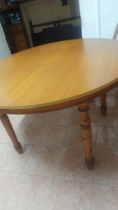 Treated pine wood dining table