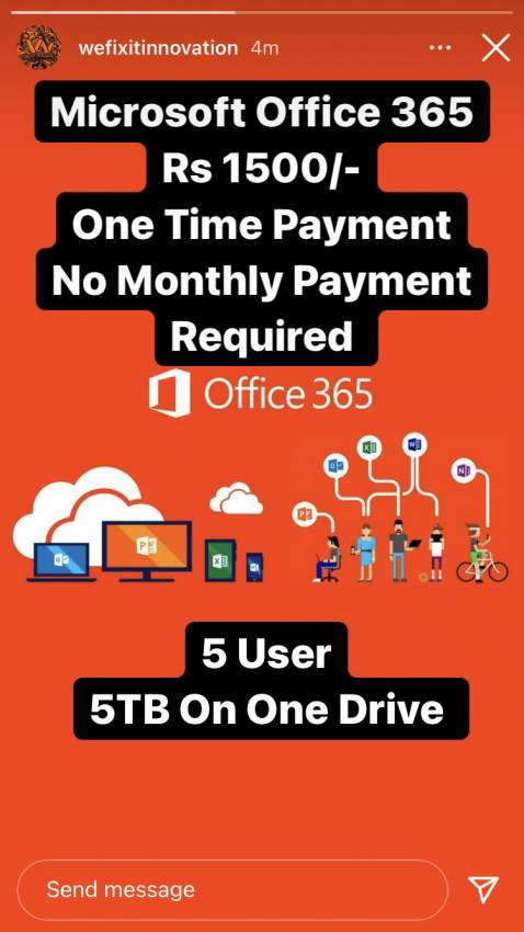 Office 365 One Time Payment