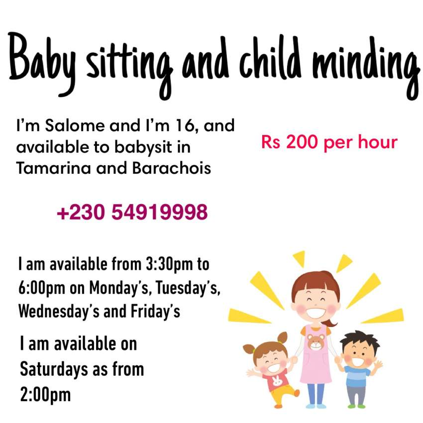 Babysitting and child minding service