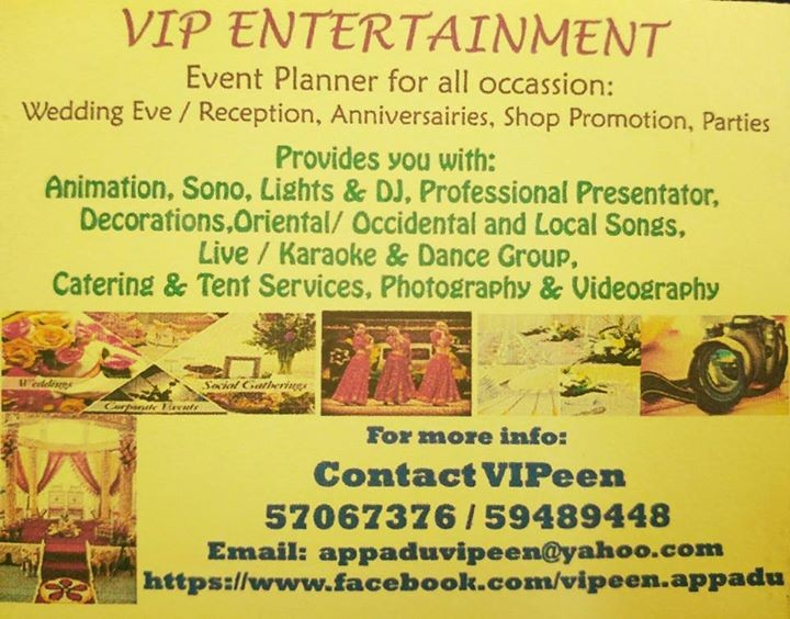 Event planner for all occasions VIP Entertainment at AsterVender