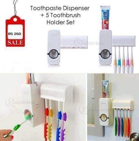 Toothpaste Dispenser + 5 Toothbrush Holder Set Wall Mount Stand - Toothbrush at AsterVender