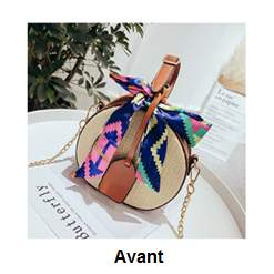 Handbag braided in straw with foulard  - Bags at AsterVender