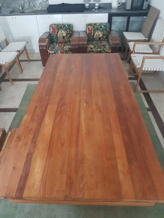 2.4 metre teak table with 8 leather chairs - Tables at AsterVender