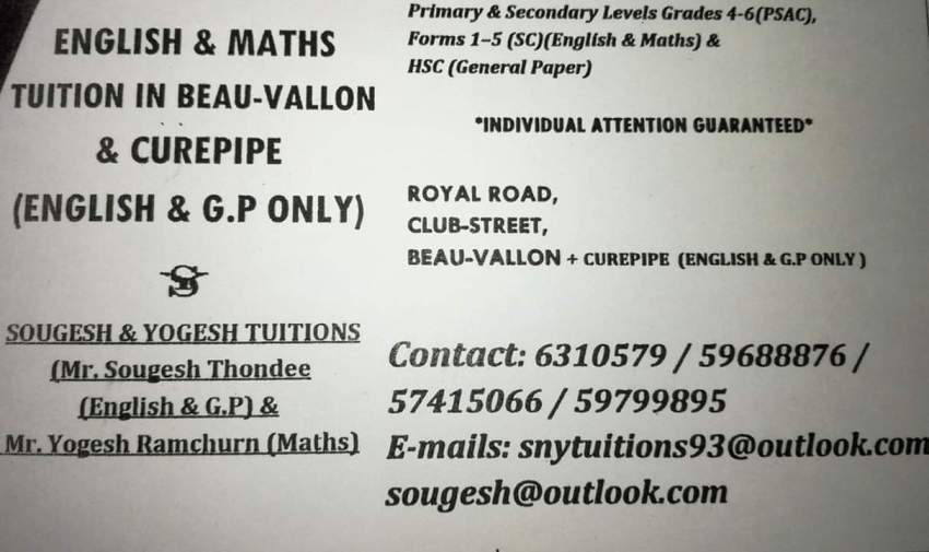 English/GP/Maths TUITION in Beau vallon & Curepipe - Private tuition at AsterVender
